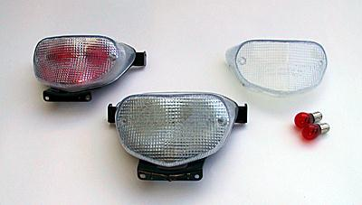 CLEAR TAIL LIGHT LENS w/ RED INSERT - SUZUKI GSX600/750 KATANA 98-02